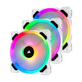 Corsair LL120 RGB LED PMW Fan White Tripple Pack with Lighting Node PRO